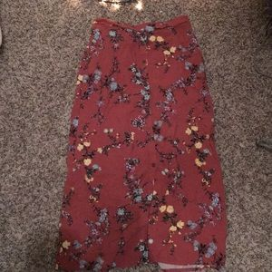 Rusty floral button up maxi skirt